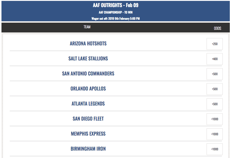 aaf future odds
