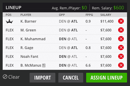 sean dfs lineup hall of fame game