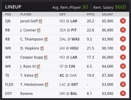 sean's week two draft kings lineup