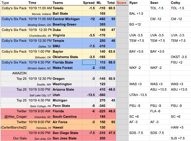 free college football picks week eight