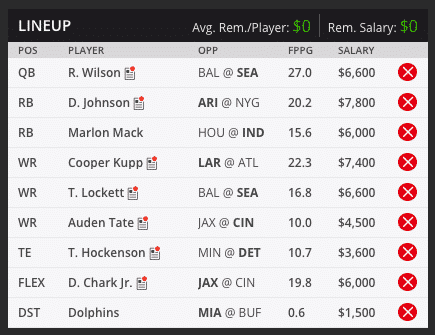 sean's week seven draft kings lineup
