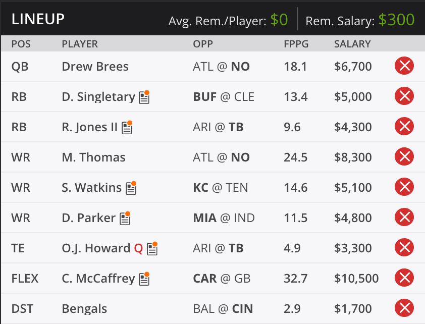 Kramer Week Ten Draft Kings Lineup