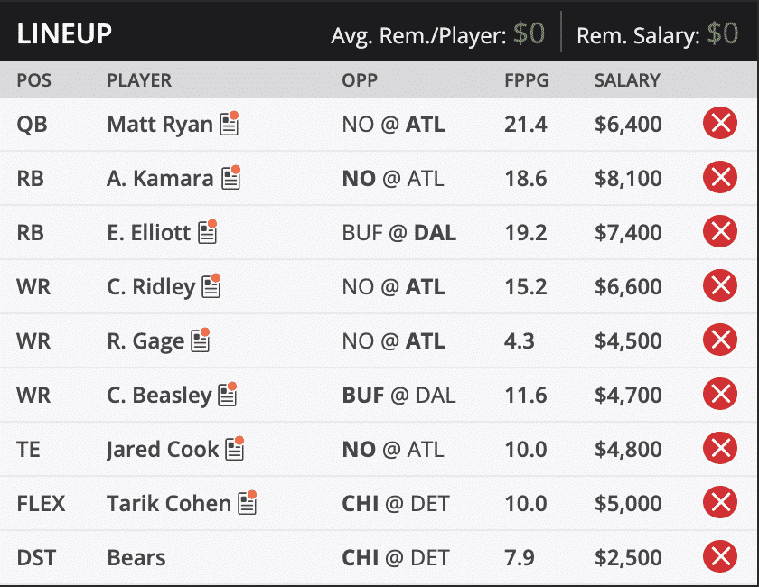 ryans thanksgiving draft kings lineup