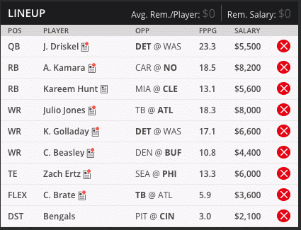 week twelve draft kings lineups sean