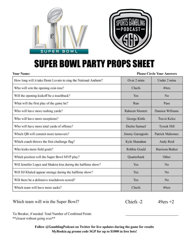 Juicy image within printable super bowl prop bets