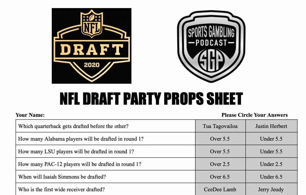 Printable Nfl Draft 2020 Party Props Sheet Sports Gambling Podcast