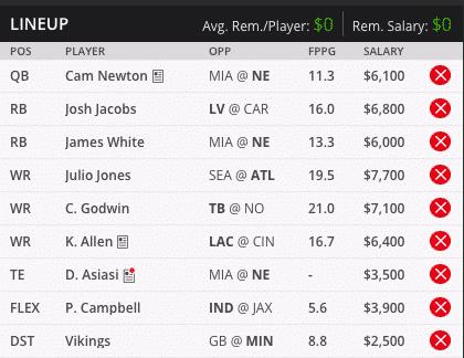 cam newton draft kings millionaire maker lineup