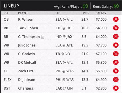 russell wilson draft kings millionaire maker lineup