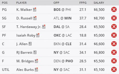 NBA DFS Picks Friday January 22nd