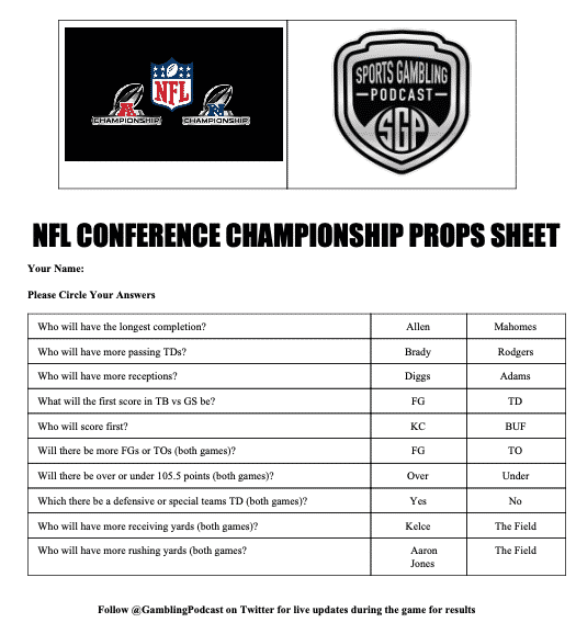 NFL Conference Championship Props Sheet