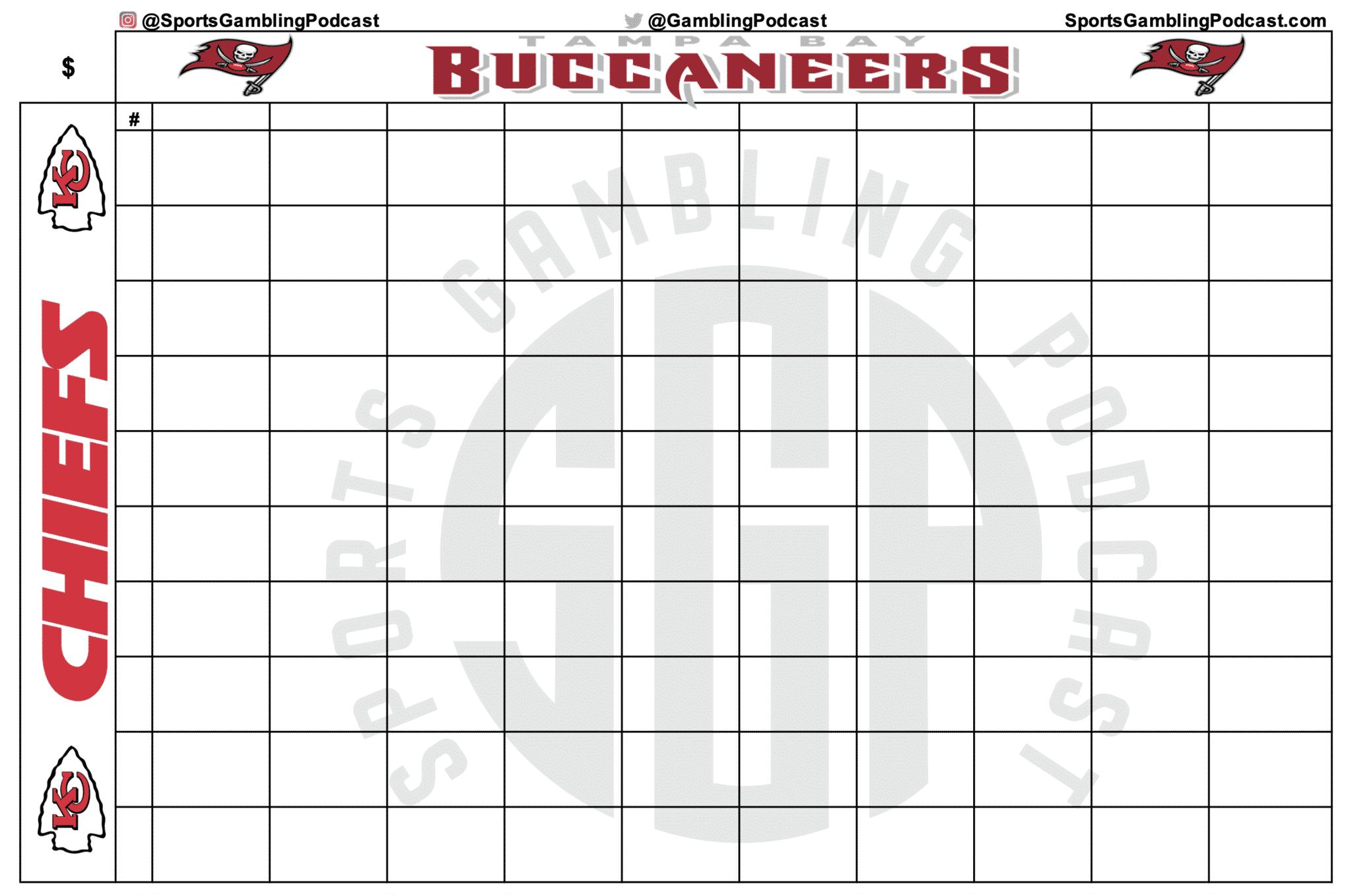Printable Super Bowl LV Squares Grid - Chiefs vs Bucs