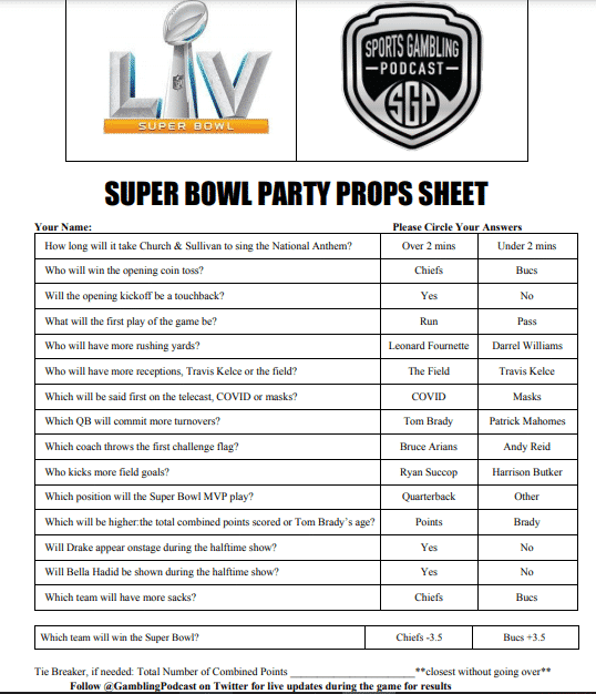 Printable Super Bowl LV Party Prop Sheet